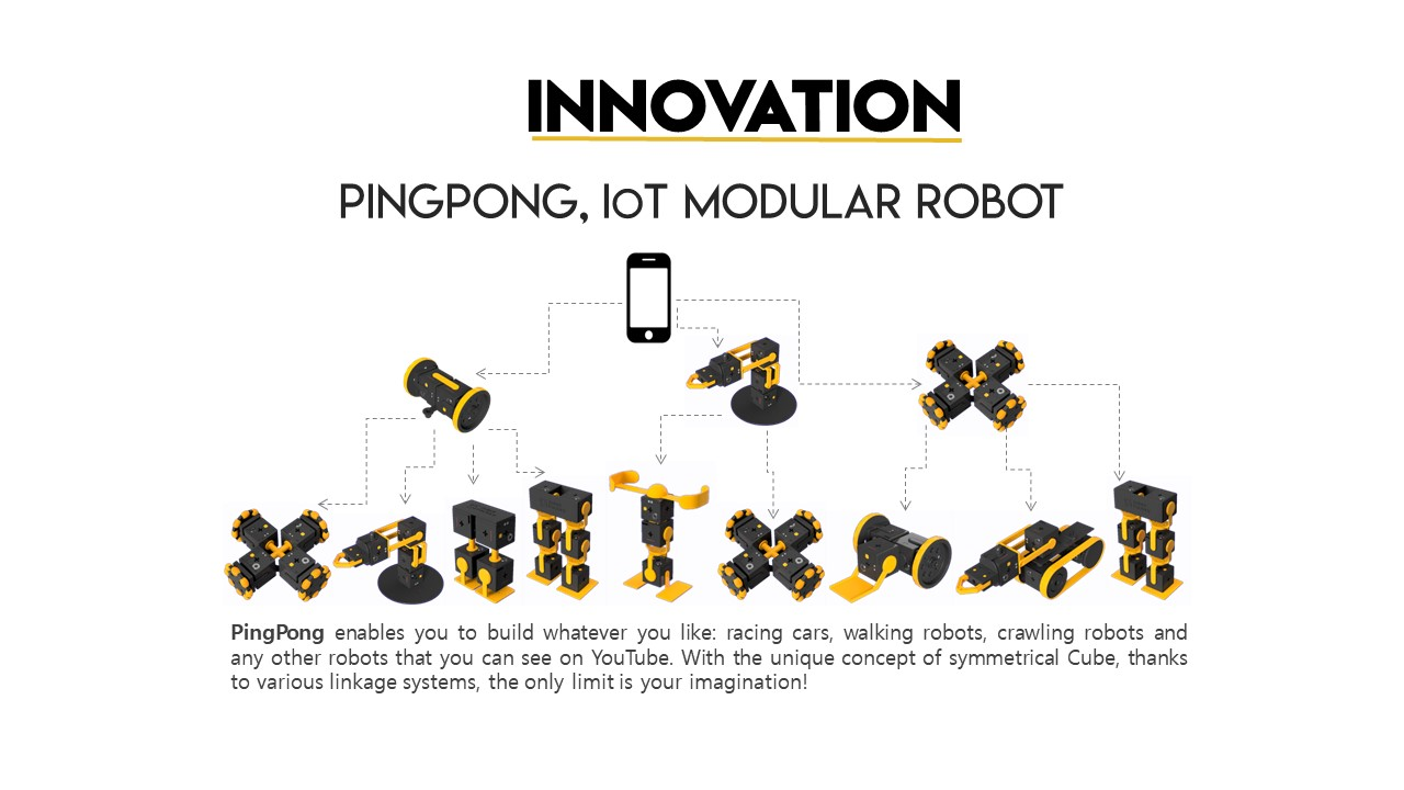 INNOVATION, PINGPONG, LoT MODULAR ROBOT, PingPong enables you build whatever you like: racing cars, walking robots, crawling robots and any other robots that you can see on YouTube. With the unique concept of symmetrical Cube, thanks to various linkage systems, the only limit is your imagination!